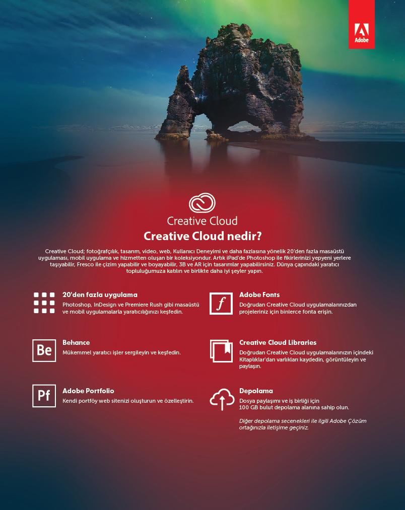 Adobe Creative Cloud 1 yıllık